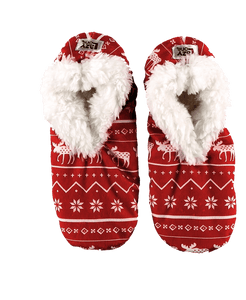 Lazy One Nordic Moose Fuzzy Feet Slippers, Choice of Two Sizes - Bendixen's Giftware