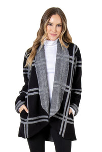 Simply Noelle Perfectly Plaid Windowpane Plaid Knit Jacket - Bendixen's Giftware