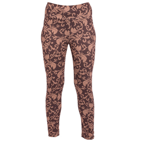 Mountain Mamas GO2 Brown & Tan Damask Leggings, Assorted Sizes - Bendixen's Giftware
