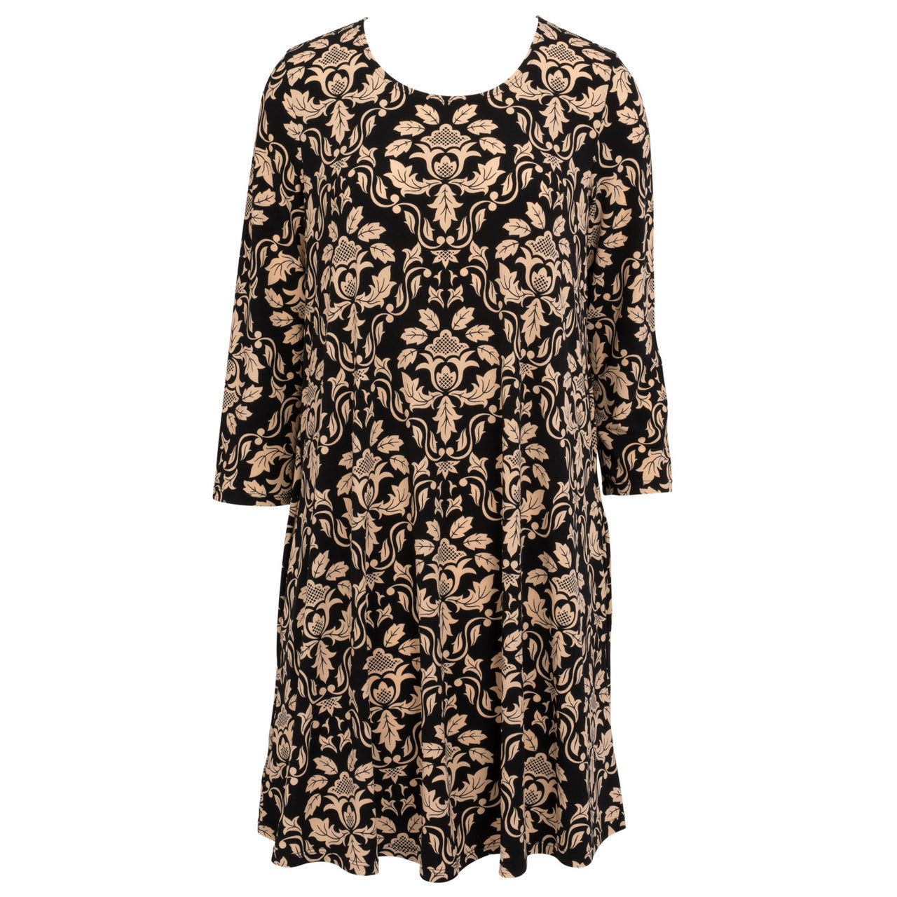 Mountain Mamas Essential Tunic Dress - Black & Tan Damask - Bendixen's Giftware