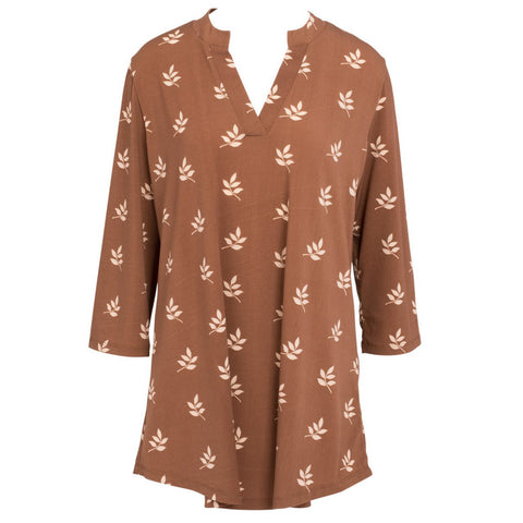 Mountain Mamas Cocoa Leaves Silky Tunic, Assorted Sizes - Bendixen's Giftware