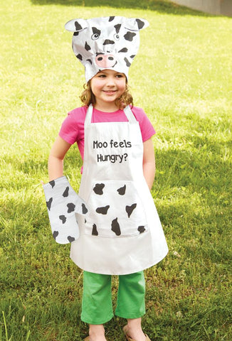 Moo Feels Hungry Kids Chef Apron Set - Bendixen's Giftware