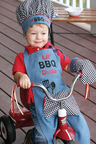 Izzy's Busy Little Barbecue Dude Kids Apron Set - Bendixen's Giftware