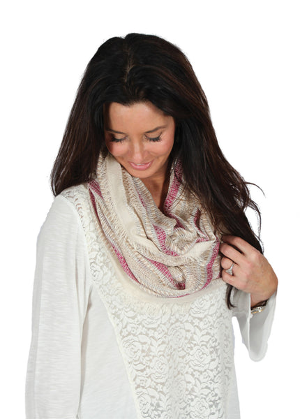 Simply Noelle Metallic Striped Infinity Scarf in Assorted Colors