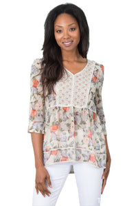 Simply Noelle Forget Me Not Mixed Print Top - Bendixen's Giftware