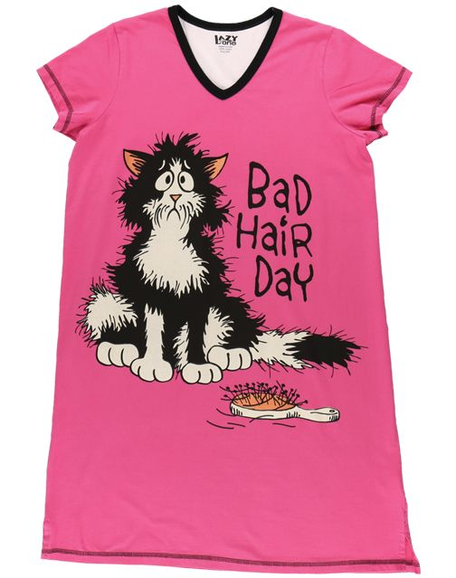 Bad Hair Day VNeck PJ Nightshirt, Available in 2 sizes - Bendixen's Giftware