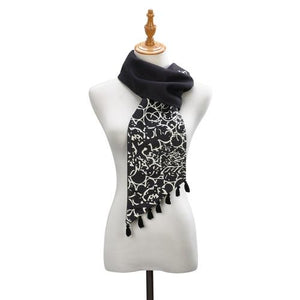Black and White Pull Through Scarf - Bendixen's Giftware