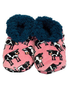 Lazy One Mooody Cow Fuzzy Feet Slippers, Choice of Two Sizes - Bendixen's Giftware