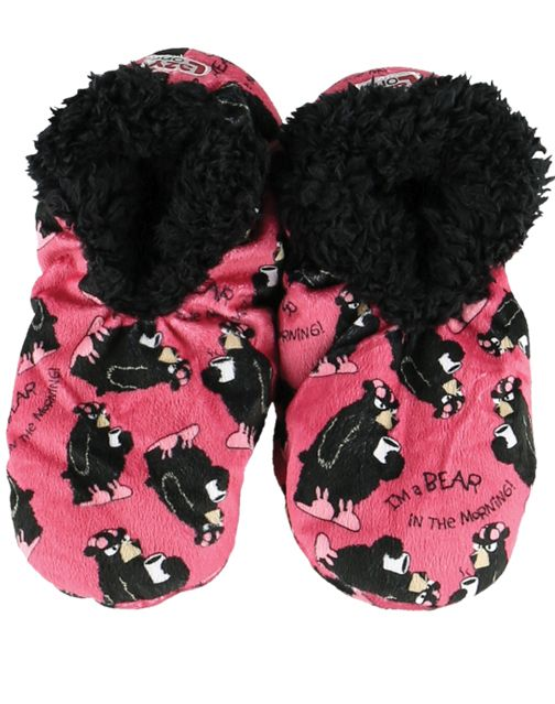 Lazy One Bear in the Morning Fuzzy Feet Slippers, Choice of Two Sizes - Bendixen's Giftware