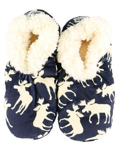 Lazy One Classic Moose Blue Fuzzy Feet Slippers, Choice of Two Sizes - Bendixen's Giftware