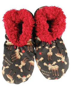 Lazy One Chocolate Moose Fuzzy Feet Slippers, Choice of Two Sizes - Bendixen's Giftware