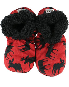 Lazy One Classic Moose Red Fuzzy Feet Slippers, Choice of Two Sizes - Bendixen's Giftware