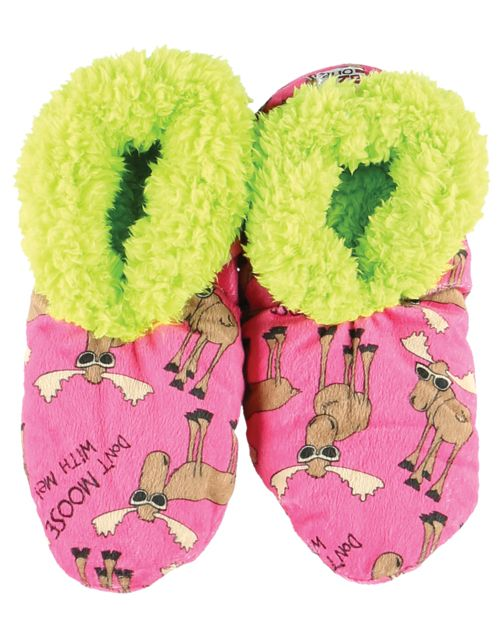 Lazy One Don't Moose With Me Fuzzy Feet Slippers, Choice of Two Sizes - Bendixen's Giftware