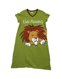 Lion Around VNeck PJ Nightshirt, Available in 2 sizes - Bendixen's Giftware