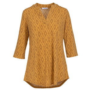 Mountain Mamas Mustard Rhombus Silky Tunic, Assorted Sizes - Bendixen's Giftware