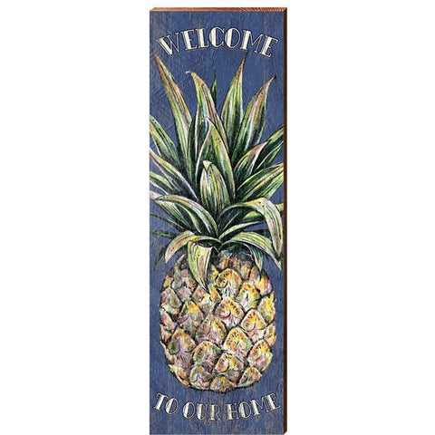 Welcome Pineapple On Rough Sawn Pine, Made in USA - Bendixen's Giftware