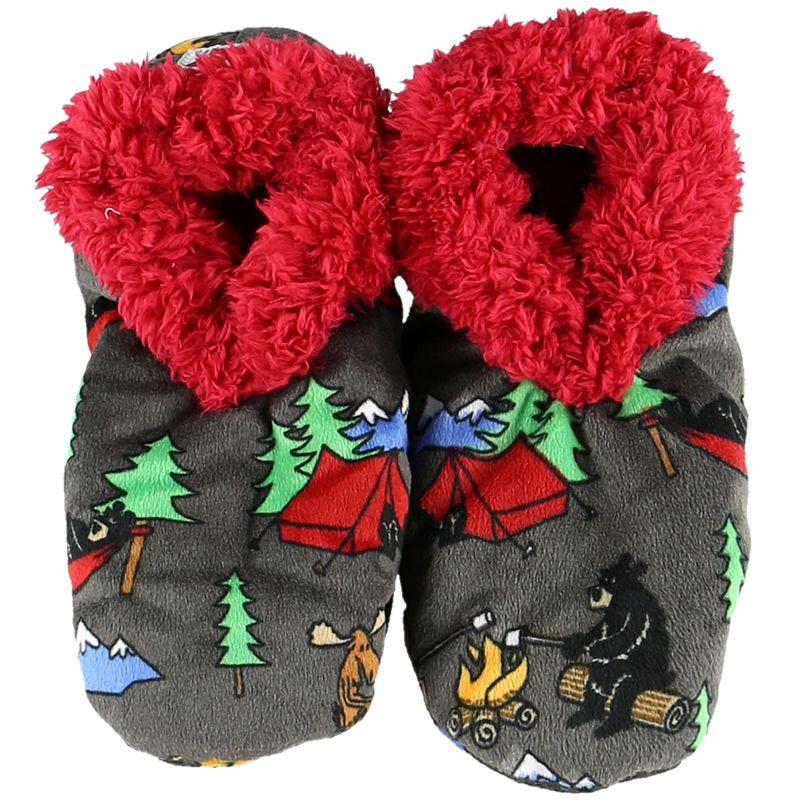 Lazy One Happy Camper Fuzzy Feet Slippers, Choice of Two Sizes - Bendixen's Giftware