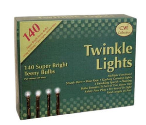 CWI Super Bright 140 Count Teeny Bulbs Twinkle Lights, Brown or Green Cord - Bendixen's Giftware