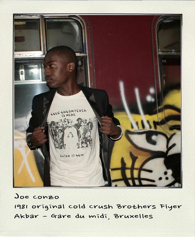 Joe Conzo - 1981 original Cold Crush Brothers Flyer soft touch organic cotton short sleeve tshirt