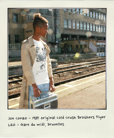 Joe Conzo - 1985 original Cold Crush Brothers Flyer soft touch organic cotton short sleeve tshirt