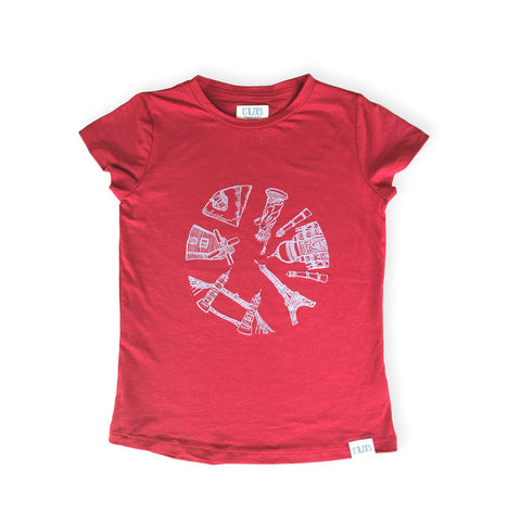 Around the World Tee Red