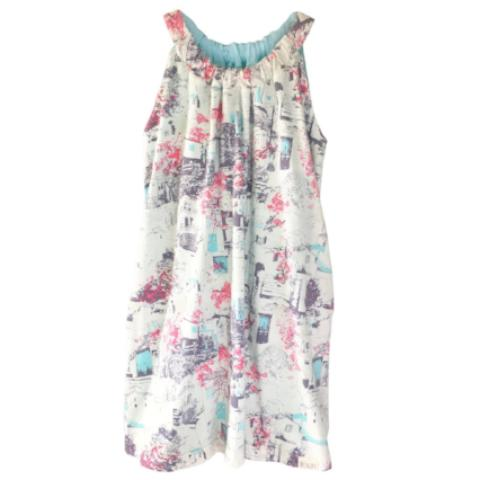 Reversible Dress with pockets - White/Robin Egg Blue