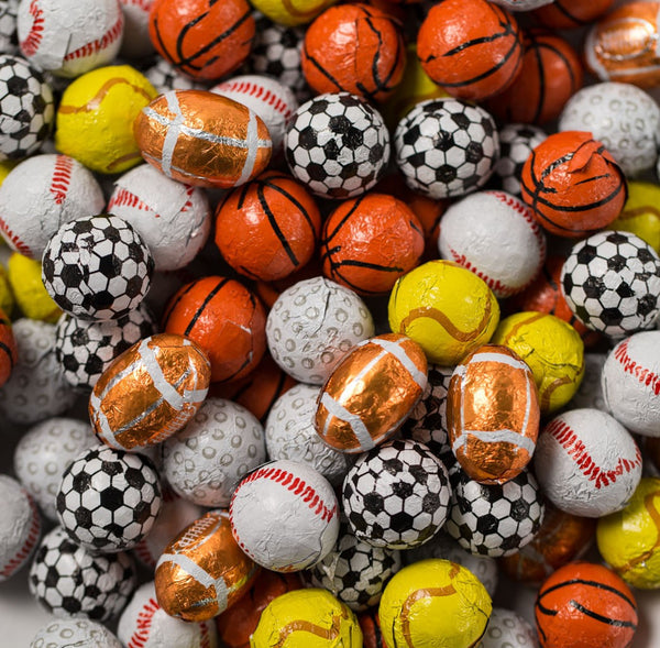Assorted Chocolate Foil Sports Balls