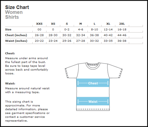 size chart of shirts: Size chart women s t shirts the outrage
