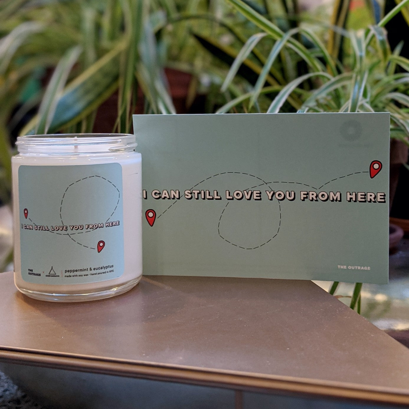 Photo of I Can Still Love You From Here Candle and postcard