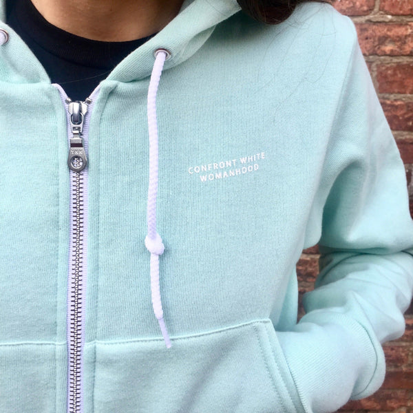 'Confront White Womanhood' Cropped Hoodie