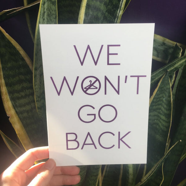 'We Won't Go Back' Postcard