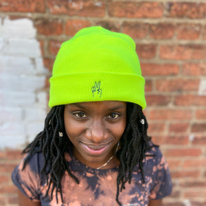 Peace Sign Beanie — Highlighter Yellow