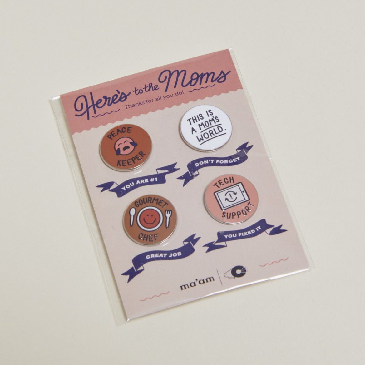 This Is A Mom's World Enamel Pin Set with packaging