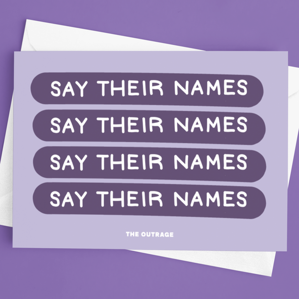 Say Their Names Postcard