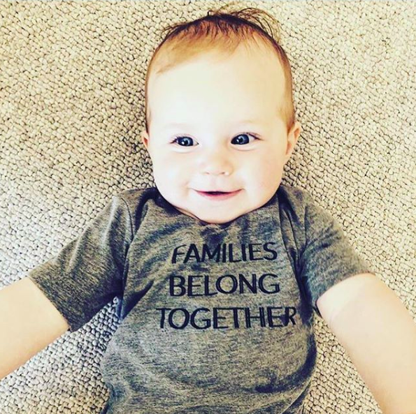 Families Belong Together Kids Tee — Gray