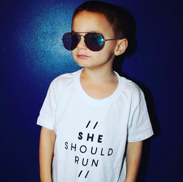 """she should run"" kids shirt"