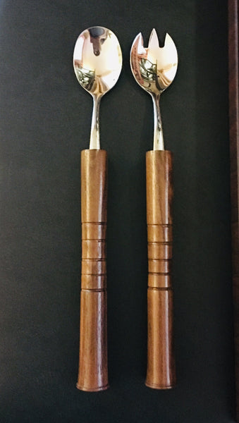 Walnut Handled Stainless Steel Salad Utensil Set