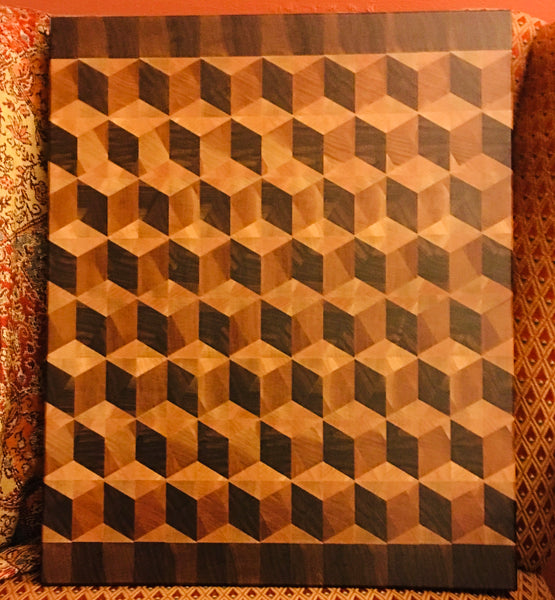 """Signature"" Walnut Bordered 3D ""Diamond"" Cutting Board ( #81)"