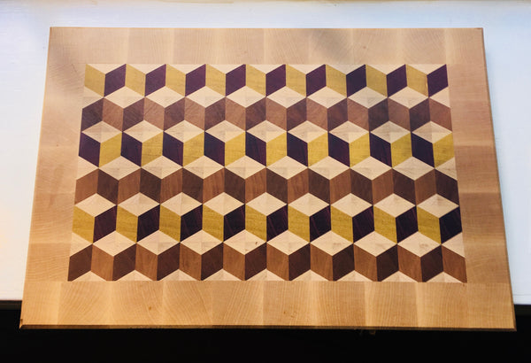 """Signature"" 3D Diamond Maple Bordered Cutting Board (#100)"