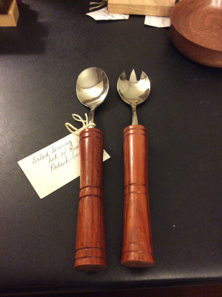 Stainless steel salad set with handcrafted Padauk handles