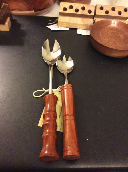 Salad utensil set with Padauk  handles