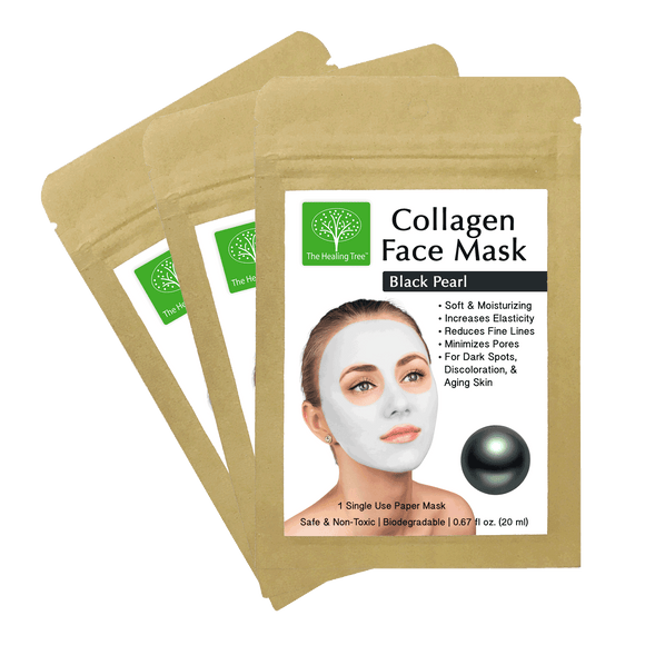 Black Pearl Collagen Face Mask for Dark Spots & Discoloration (3-Pack, 6-Pack 9-Pack)