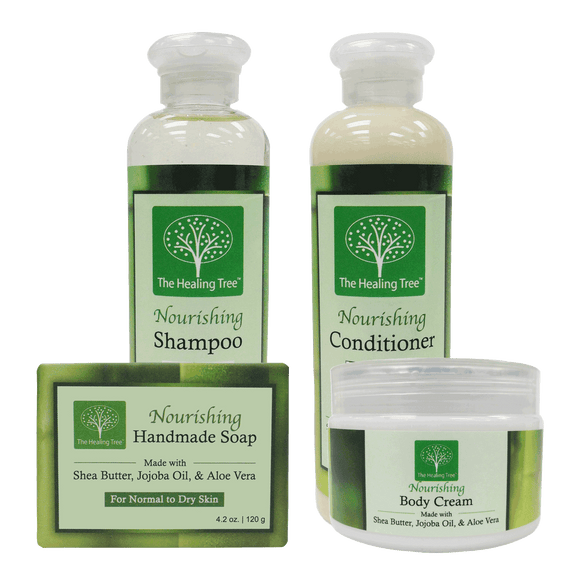 Nourishing Bath Set with Shampoo, Conditioner, Body Cream, & Soap