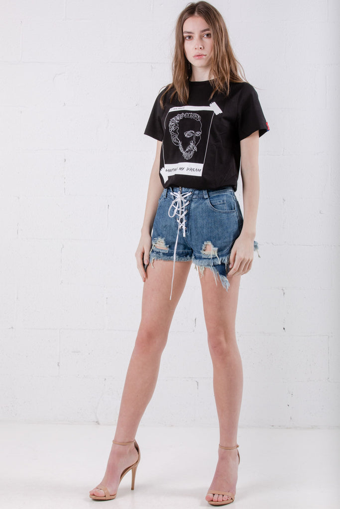 Devil Beauty Lace Up Shorts Blue - Room 29