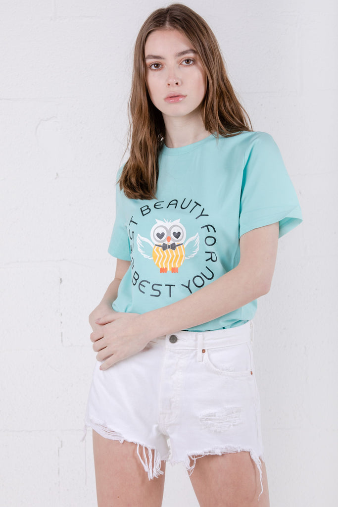 Devil Beauty Owl Tee Green - Room 29