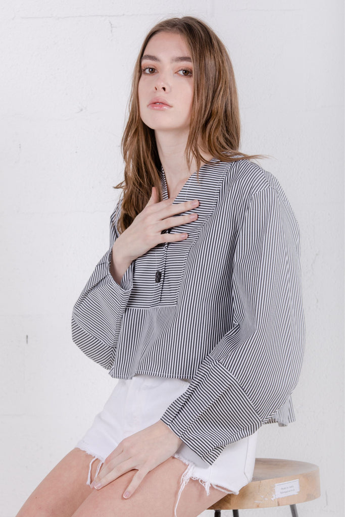SJYP Cotton Stripe Blouse Black - Room 29