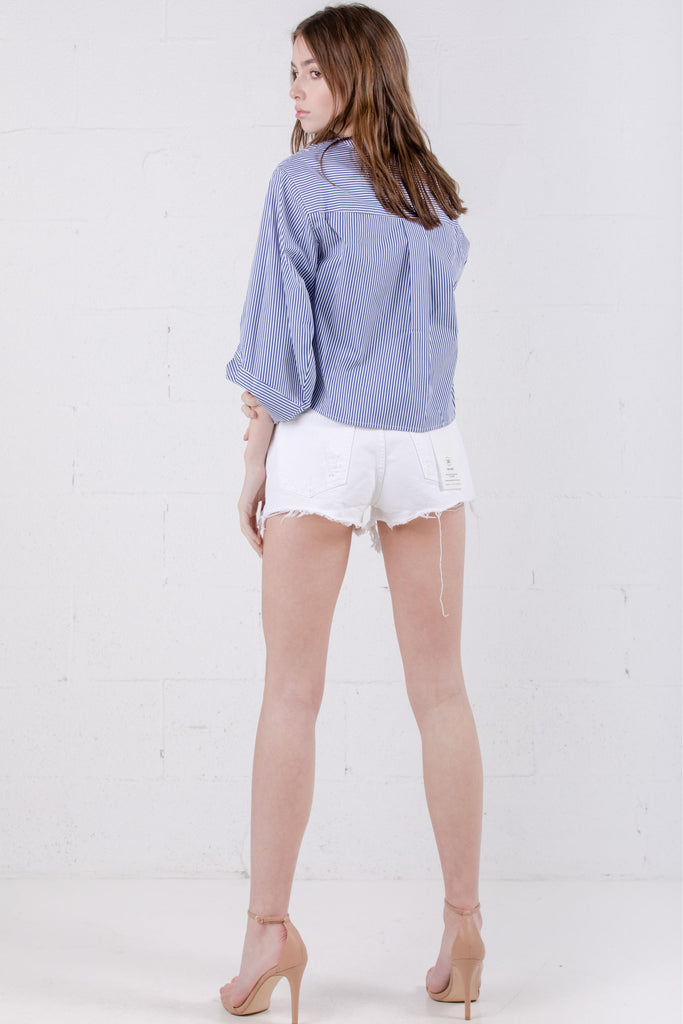 SJYP Cotton Stripe Blouse Blue - Room 29