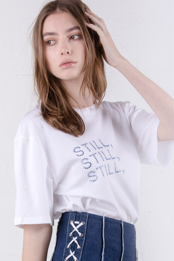 Still Still Studio Diamante Embellished T-Shirt White - Room 29