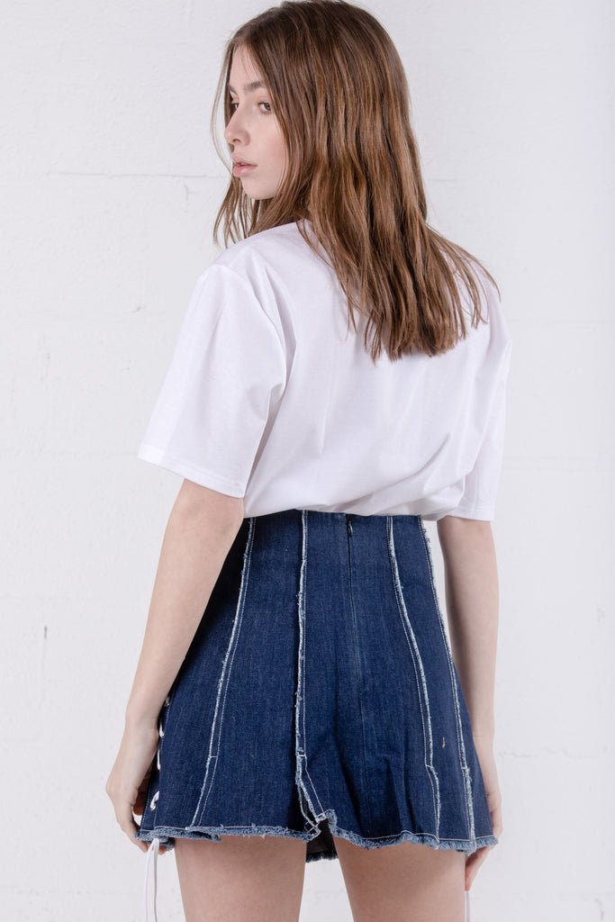 Devil Beauty Slit Tie Dark Blue Denim Skirt - Room 29