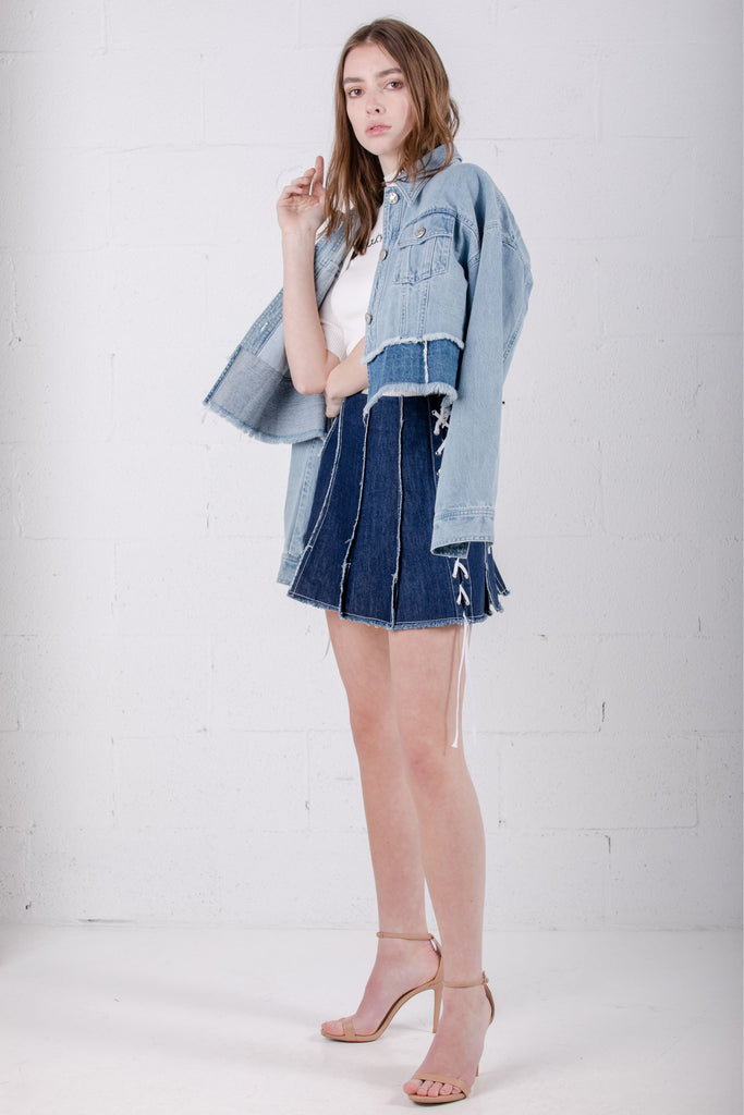 Devil Beauty Cropped Dual Color Denim Jacket - Room 29